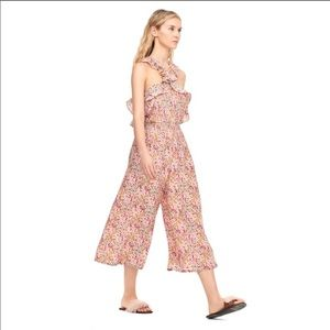 Rebecca Taylor Margo Silk Floral Wide Leg Jumpsuit
